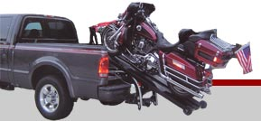 Triple D Lift and Loader is loading motorcycle